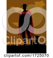 Creepy Man Black Silhouette With Red Cloak And Spooky Cat