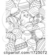 Poster, Art Print Of Easter Chick Eggs Coloring Book Page Cartoon