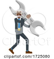 Mature Black Business Man Holding Spanner Wrench