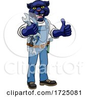 Poster, Art Print Of Panther Plumber Or Mechanic Holding Spanner