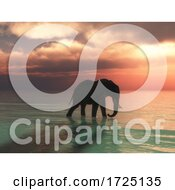 Poster, Art Print Of 3d Elephant Walking In The Ocean Against A Sunset Sky