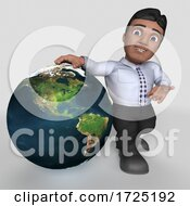 3d Hispanic Business Man On A Shaded Background