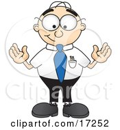 Clipart Picture Of A Male Caucasian Office Nerd Business Man Mascot Cartoon Character Standing With His Arms Out by Toons4Biz