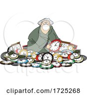 Cartoon Woman Wearing A Mask In A Pile Of Clocks For Daylight Savings