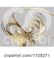 3d Gold Wire Mathematical Knot Against Gray Background