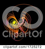 3d Orange Glowing Abstract Wire Knot Shape Against Black Background