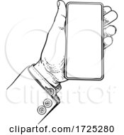 Poster, Art Print Of Business Suit Vintage Hand Holding Mobile Phone