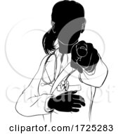 Woman Doctor Pointing Needs You Silhouette