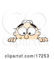 Clipart Picture Of A Male Caucasian Office Nerd Business Man Mascot Cartoon Character Peeking Over A Surface by Toons4Biz
