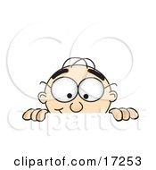 Male Caucasian Office Nerd Business Man Mascot Cartoon Character Peeking Over A Surface