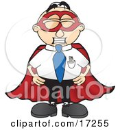 Clipart Picture Of A Male Caucasian Office Nerd Business Man Mascot Cartoon Character Dressed As A Super Hero