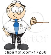 Clipart Picture Of A Male Caucasian Office Nerd Business Man Mascot Cartoon Character Holding A Pointer Stick by Toons4Biz