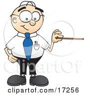 Male Caucasian Office Nerd Business Man Mascot Cartoon Character Holding A Pointer Stick