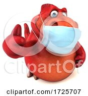 3d T Rex Dinosaur Wearing A Mask On A White Background
