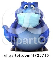 3d T Rex Dinosaur Wearing A Mask On A White Background by Julos