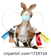 3d Kangaroo Wearing A Mask On A White Background