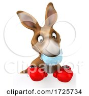 3d Boxing Kangaroo Wearing A Mask On A White Background