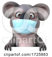 10/21/2020 - 3d Koala Holding A Birthday Cake On A White Background