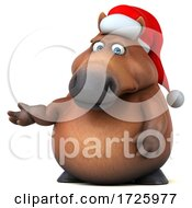10/21/2020 - 3d Chubby Brown Christmas Horse On A White Background