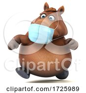 10/21/2020 - 3d Chubby Brown Horse Wearing A Mask On A White Background