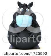 3d Chubby Brown Masked Horse On A White Background by Julos