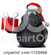 10/21/2020 - 3d Black Christmas Horse On A White Black Background