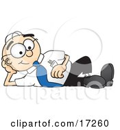 Male Caucasian Office Nerd Business Man Mascot Cartoon Character Reclining And Resting His Head On His Hand