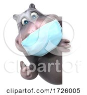 10/21/2020 - 3d Hippo Wearing A Mask On A White Background