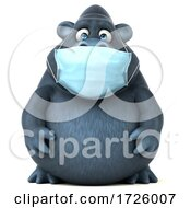 10/21/2020 - 3d Gorilla Wearing A Mask On A White Background