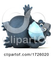 3d Gorilla Wearing A Mask On A White Background by Julos
