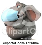 Poster, Art Print Of 3d Elephant Wearing A Mask On A White Background