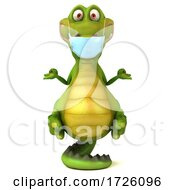 3d Crocodile Wearing A Mask On A White Background