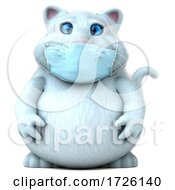 3d White Cat Wearing A Mask On A White Background