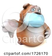 Poster, Art Print Of 3d Bulldog Wearing A Mask On A White Background