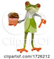 Poster, Art Print Of 3d Green Springer Frog Gardener On A White Background