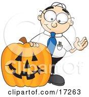 Male Caucasian Office Nerd Business Man Mascot Cartoon Character With A Carved Halloween Pumpkin