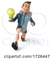 Poster, Art Print Of 3d Backpacker Man On A White Background
