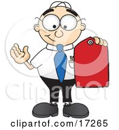 Clipart Picture Of A Male Caucasian Office Nerd Business Man Mascot Cartoon Character Holding A Red Sales Price Tag by Toons4Biz
