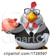 3d White Business Chicken On A White Background