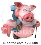 Poster, Art Print Of 3d Backpacking Pig On A White Background