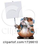 3d Bulldog Backpacker On A White Background
