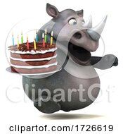 Poster, Art Print Of 3d Rhinoceros On A White Background