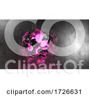10/24/2020 - 3d Purple And Pink Glowing Ball Of Energy Against Black Metallic Background
