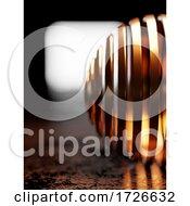 3d Metallic Copper Striped Sphere Agains Lit Window Backdrop