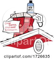 Cartoon Christmas Chimney With A Dear Santa Please Come In Sign With Sanitizer by Johnny Sajem