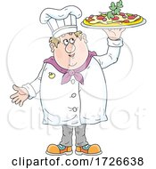 Chubby Male Chef Holding Up A Pizza