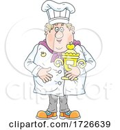 Chubby Male Chef Holding A Trophy