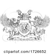 Coat Of Arms Crest Griffin Pegasus Lion Shield