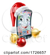 Christmas Cell Mobile Phone Mascot In Santa Hat