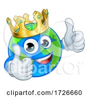Crown Earth Globe World Mascot Cartoon Character